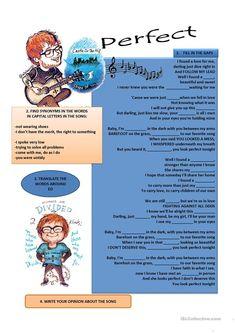 SONG- PERFECT BY ED SHEERAN worksheet - Free ESL printable worksheets made by teachers
