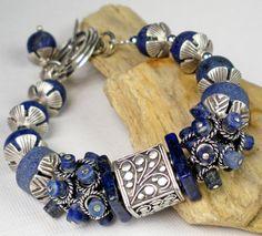 Lapis Beaded Bracelet, Thai Karen Silver Beaded Bracelet, Sterling Silver And Lapis, Matte Lapis, Chunky Bracelet, Rustic- Blue Monday