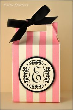 pink and white favor box