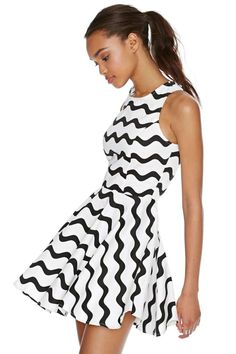 Graphic Wave Skater Dress