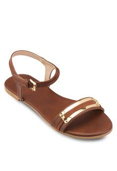 d8aa902b370 Flat Sandals with Metal Buckle Details from ZALORA in brown 1 Metal  Buckles