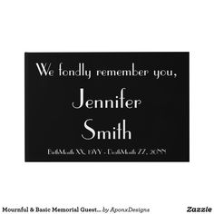 Shop Mournful & Basic Memorial Guestbook created by AponxDesigns. Birth And Death, Guest Books, Passed Away, Funeral, Letter Board, Dating, Names, Messages, Memories