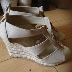 Tan high heel wedges 2 and 1/2 inch heels Shoes