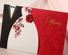 Envío gratis personalizada invitaciones de boda creativo papel alta calidad tarjeta de invitación de boda con el sobre / WD22