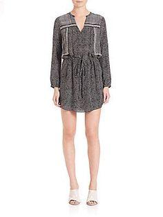 Rebecca Taylor Silk Patchwork Dress - Black - Cream - Size