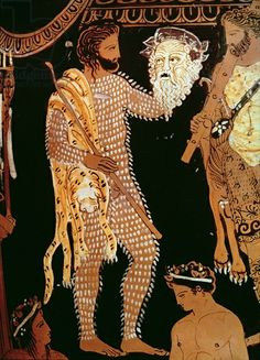 Detail from a red-figure vase showing an actor holding his mask, found at Ruvo, c.410 BC (pottery). Museo Archeologico Nazionale, Naples, Italy