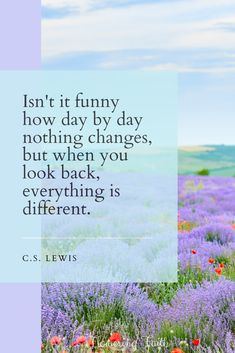 """""""Isn't it funny how day by day nothing changes, but when you look back, everything is different. Life Is Amazing Quotes, New Bible, Seek The Lord, God Help Me, Nothing's Changed, Author Quotes, Cs Lewis, Sing To Me, Christian Inspiration"""