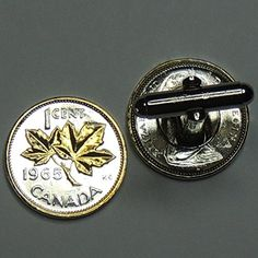 Canadian Maple leaf - 2 Toned Gold on Silver coin cufflinks