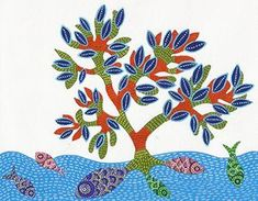 """Gond art - 6"""" x 7.5"""" acrylic on paper (Paintings inspired from folk art forms from different states of India done for a calendar)"""