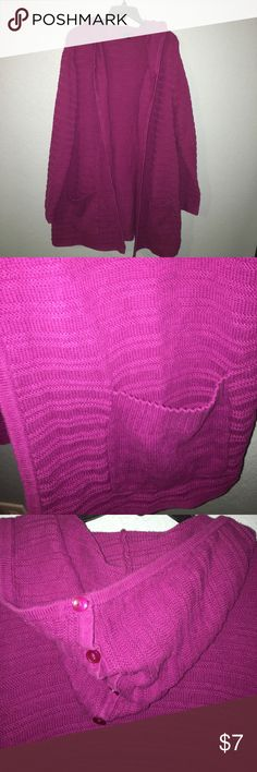 Long Hooded Cardigan Gently Used-Nothing wrong with it. No snags no stains-2X Oversized and very comfy. Soft Sweater. Great Piece It is a deep Pink/Purple Westbound Woman Sweaters Cardigans