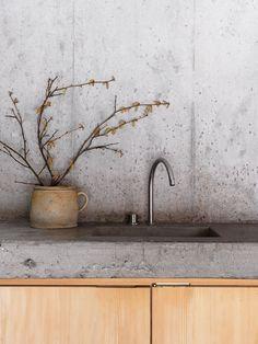 Minimalist Concrete Kitchen in Swiss Alp Cabin #bunkerplans
