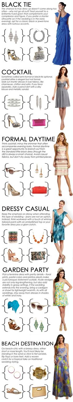 Decoding the Party/Wedding Dress Code - what to wear for special occasions ... black tie, cocktail, formal daytime, dressy casual, garden party, beach destination ...