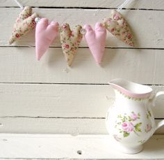 Heart Garland Decoration Pink and Ditsy Floral  Wedding Decor on Etsy, $11.00