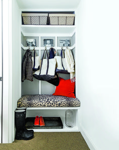 Turn a closet at the entry into a functional nook by removing the door and adding shelves and hooks. via @thesnugonline