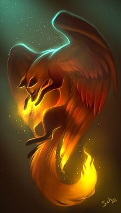 Looks like a phoenix fox – Art Center Mystical Animals, Mythical Creatures Art, Cute Fantasy Creatures, Cute Animal Drawings, Cute Drawings, Wolf Drawings, Anime Wolf Drawing, Horse Drawings, Fantasy Kunst