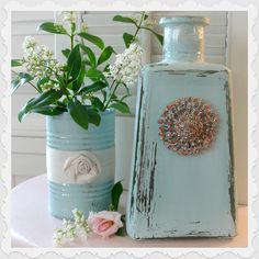Fox Hollow Cottage: Glass Bottle and Tin Can Repurpose - very pretty blue on this creative reuse