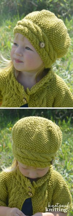 Knitting pattern for an adorable slouch hat. This is a great knit hat pattern for girls and women. The cable brim is knit first and then stitches are picked up for the hat. A fun knitted slouch hat pattern!