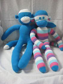 Let's make cute Sock Monkeys! Supplies: Socks.  For these monkeys I used regular women's socks (not knee highs, they are too long) I b...
