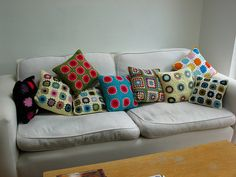 retro granny square pillows