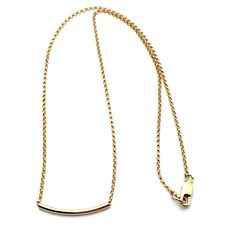 """Gold Slide 15 is a 15"""" Necklace os 14k Gold Fill Rolo Chain with a Lobster Clasp and a Curved Tube Slide Pendant. Also Available in 16 1/2"""" and 18"""". Great for Layering! Product #16-087"""