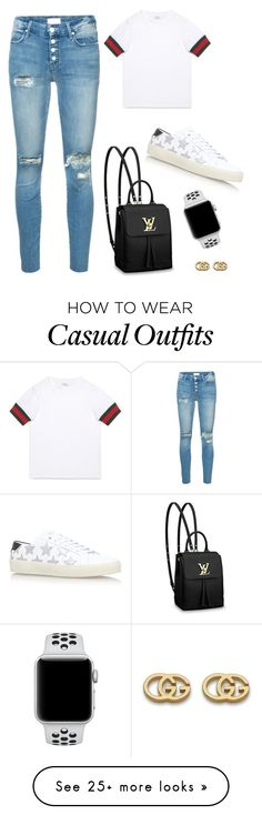 """""""casual day outfit."""" by jordanaloera on Polyvore featuring Yves Saint Laurent, Mother, Gucci and NIKE"""