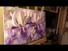 Серебряные ирисы. Хивопись маслом Alla Prima. Silver irises. Process of creating oil painting. - YouTube