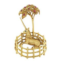 Gold and Ruby Unicorn Brooch