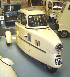 "Alternative Transportation - 1955 ""Inter 175 A Berline"" Microcar on a tricycle type undercarriage can go 100 miles on a gallon of gas. Microcar, Reverse Trike, Weird Cars, Cute Cars, Funny Cars, Unique Cars, Small Cars, Car Humor, Motor Car"