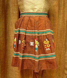 Vintage Half Apron, Hand Embroidered, Bronze Linen, Traditional South American Folk Patterns, People in Costume, Peru by GreenLeavesBoutique on Etsy