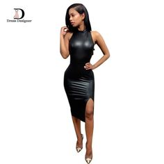 Black Leather Ban...   Like what you see? Come find out what else we have http://home-of-paradise.myshopify.com/products/2016-new-fashion-women-bandage-black-dress-sleeveless-round-neck-cross-backless-ladies-pu-leather-bodycon-sexy-party-dresses