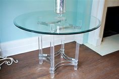 Check out this awesome Chrome Lucite Dining Table. It has a large round table top with a beveled edge. The glass is in good condition. It may have a few scratches as expected with age but no chips in the glass. The chrome is also in great condition, again, may have some scratches and pitting but overall in good condition. This dining table may be an original alessandro albrizzi of Italy table.