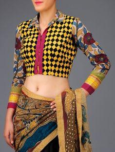 Yellow - Black Kalamkari Blouse - Angikam