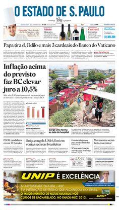 Capa de hoje: Inflação acima do previsto faz BC elevar juro a 10,5% http://oesta.do/1d7RAtd