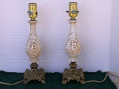 Antique  Boudoir Lamps Cherub design n ornate brass by dagutzyone,
