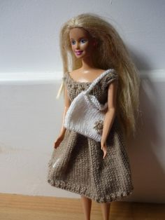 Items similar to Hand Knitted Summer Dress with Full Skirt and Bag for Teenage Doll (Barbie) on Etsy Bodice, Neckline, Embroidered Flowers, White Flowers, Hand Knitting, Compliments, Tights, Barbie, Summer Dresses