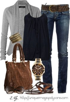 dark wash straight leg or skinny jeans with gray cardigan, black tank, dark brown sandals and bag. Add a touch of masculine with a heavier watch and you have a great outfit!