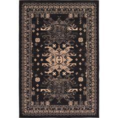 Unique Turkish Heriz Black Polypropylene Rug (6' x 8' 11) (6' x 8' 11), Size 6' x 9'