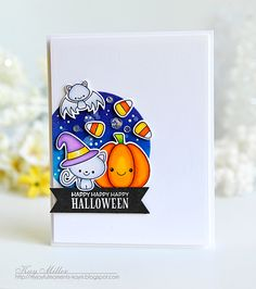 Happy Happy Happy Halloween Card by Kay Miller for Papertrey Ink (August 2016)
