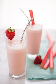 Strawberry-Rhubarb Orange Julius. These are SO FUN. This copycat homemade orange julias recipe is so much better than the original because it has fresh spring strawberries and rhubarb in it. Your family will love it! To make this refreshing, light, dessert beverage at home, you'll need: greek yogurt, orange juice, strawberries, rhubarb, sugar, vanilla, and ice.