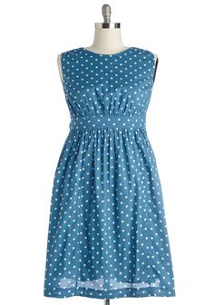 Too Much Fun Dress in Blue Dots - Long. If overloading on fun were such a thing, we'd say go all out in this polka-dotted dress from hard-to-find British brand Emily and Fin! #blue #modcloth