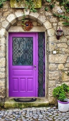 Front Door Paint Colors - Want a quick makeover? Paint your front door a different color. Here a pretty front door color ideas to improve your home's curb appeal and add more style! Cool Doors, The Doors, Unique Doors, Entrance Doors, Doorway, Windows And Doors, Barn Doors, Front Doors, Entrance Ideas