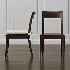 Shop Cabria Dark Wood Dining Chair and Cushion. Our Cabria collection is crafted of sustainably sourced mango wood that's harvested only after the tree has stopped bearing fruit, with grain that showcases distinctive ribboning and knotting. Kitchen Table Chairs, Restaurant Tables And Chairs, Dining Chairs, Kitchen Nook, Kitchen Decor, Brown Wood, Dark Wood, Cool Chairs, Side Chairs