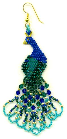 A brick stitch pattern to make `Peacock` earrings using beads