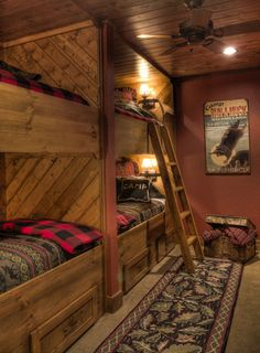 log cabin living room design ideas - Internal Home Design Lake Cabins, Cabins And Cottages, Cabin Homes, Log Homes, Cabin Bunk Beds, Custom Bunk Beds, Bunk Rooms, Plywood Furniture, My New Room