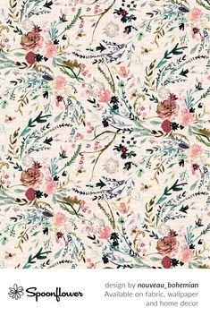 #Customize your own home decor, #wallpaper and #fabric at Spoonflower. Shop your favorite indie designs on fabric, wallpaper and home decor products on Spoonflower, all printed with #eco-friendly inks and handmade in the United States. #patterndesign #textildesign #pattern #digitalprinting #floral #boho