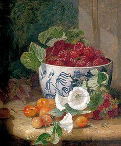 Eloise Harriet Stannard (1829-1914) - Still life with Raspberries, Cherries an Bindweed