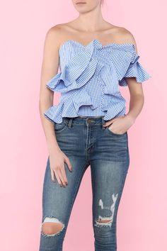 Gingham print large ruffle tube top.   Stripe Ruffle Top by Tea & Cup. Clothing - Tops - Sleeveless Clothing - Tops - Casual New York City