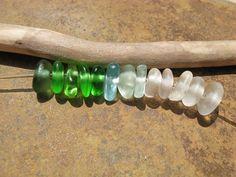 SMALL Beach Glass Beads Drilled Sea Glass by lakehousebeachglass, $12.00