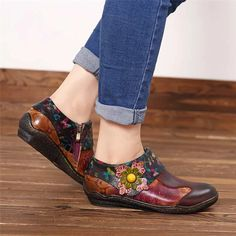 Socofy SOCOFY Retro Hand Painted Floral Splicing Pattern Zipper Flat Leather Shoes For Women is cheap and comfortable. There are other cheap women flats and loafers online Mobile. Cow Leather, Leather Shoes, Boho Shoes, Loafers Online, Casual Loafers, Shoes Outlet, Womens Flats, Wedding Shoes, Vintage Ladies