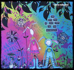 Dylusions paints, Dutch Doobadoo stencils image Stampotique (Kate Crane)